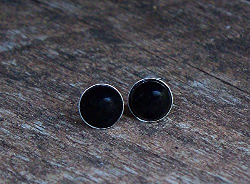 (Recycled Antique Black Depression Glass Sterling Silver Post Earrings)