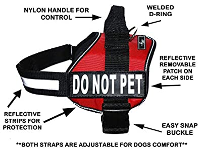 DO NOT PET Dog Vest Harness with Removable velcro Patches and reflective trim. Comes with 2 DO NOT PET reflective velcro pathces. Please measure dogs girth before purchase
