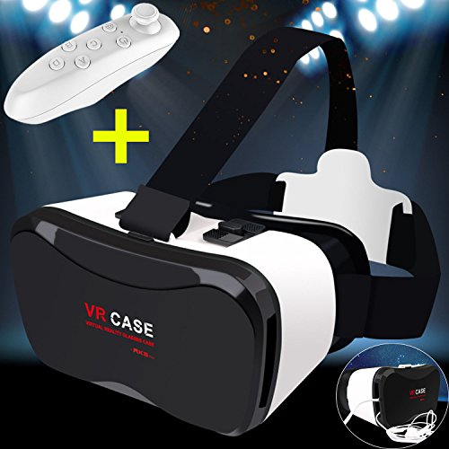 """3D VR Glasses/Box, Tsanglight 3D Virtual Reality Headset Cellphone 3D Movie/Game Visor [Updated Version]+Bluetooth Remote Controller for iPhone 7 6S Plus, Samsung S7 Edge S6 & Other 4.0""""-6.3"""" Phones"""