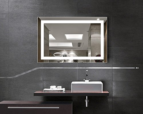 H&A Dimmable LED Backlit Mirror Anti-fog Illuminated Vanity Mirror Bathroom Mirror with Touch Button (36''x28'' border) by Hans & Alice
