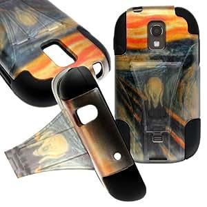 CoverON® Kickstand Hard + Soft Dual Layer Hybrid Case for Samsung Galaxy Light - Orange Blue The Scream Design Black Soft Silicone