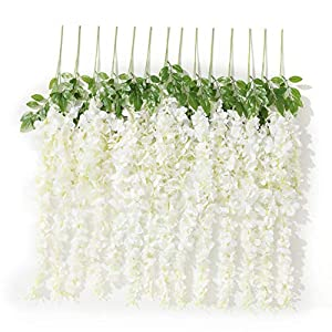 Gatton 10PCS 3.2 Feet Artificial Flower Silk Wisteria Vine Ratta Hanging ding Decor Garlands(White) | Model WDDNG - 798 | 66