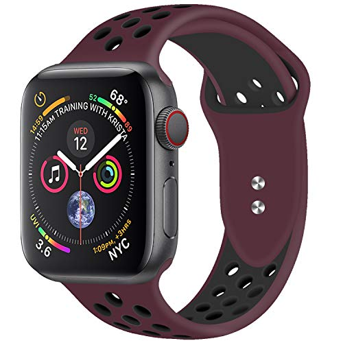 YOUKEX iWatch Band Compatible for Apple Watch Band 38mm 42mm Sport Band Women Men for Series 4,3,2,1 Soft Silicone Straps (Works for 40mm 44mm Watch)