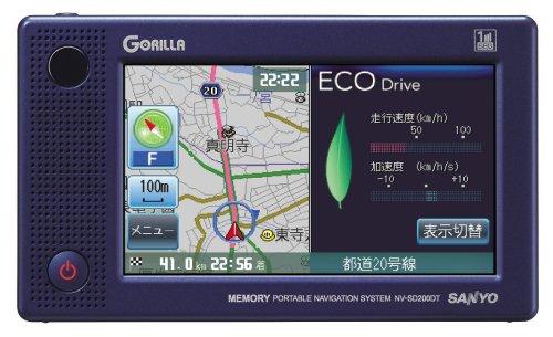 SANYO ワンセグTVチューナー内蔵 メモリーポータブルナビゲーションシステム 「mini GORILLA」 NV-SD200DT B000PFT05Q