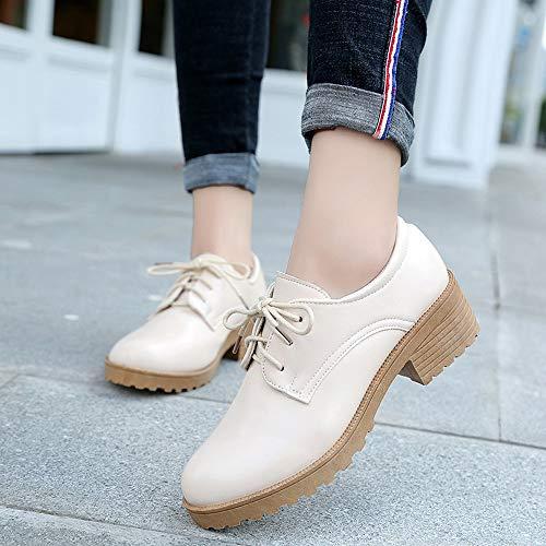 Botas Mujer Invierno Cuero Zapatos Spring Zapatos Botines Nieve Zapatos Mujer Mujer de Planos de Otoño de pequeños Calzado con para Beige para Zapatos Cordones Bowknot Cuero POLP wRTXxp