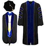 lescapsgown Deluxe Doctoral Graduation Gown Hood and Tam 8Sided Package Size 54
