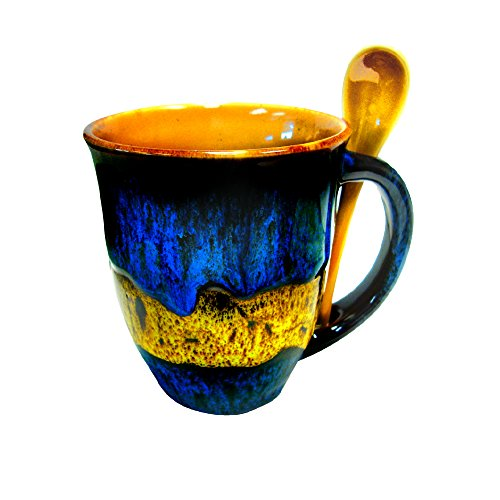 Mug with Spoon Combo Set - Gorgeous Creative Glazed Artisan Coffee and Tea Cup 14 oz (Blue/Yellow)