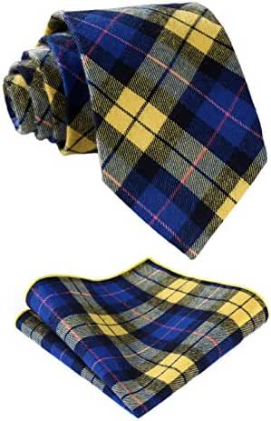 HISDERN Men's Cotton Plaid Necktie Set