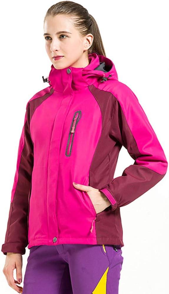コールドプルーフ女性のためのジャケット、防風性と暖かいツーピース登山スーツ(ピンク)  Large