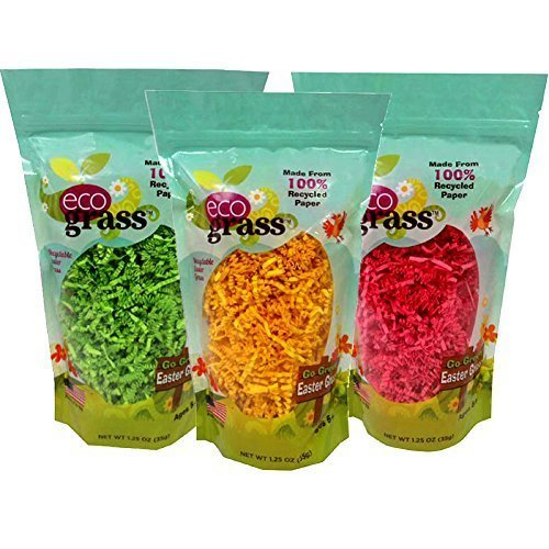 Paper Easter Basket Grass, eco grass: 3 Bags (1.25 Oz Each) - 1 of Each Color: Yellow, Green, & Pink. Made From 100% Recycled Paper.