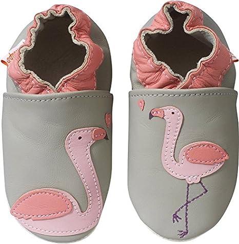 Tichoups chaussons bébé cuir souple florette le flamant rose
