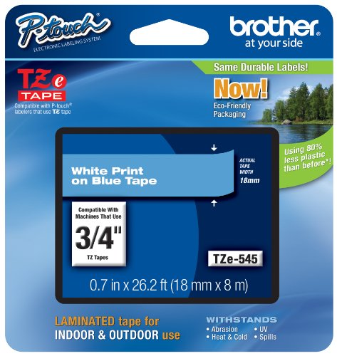 Brother Genuine P-Touch TZE-545 Tape, 3/4 (0.7) Standard Laminated P-Touch Tape, White on Blue, For Indoor or Outdoor Use, Water-Resistant, 26.2 ft (8 m), Single-Pack