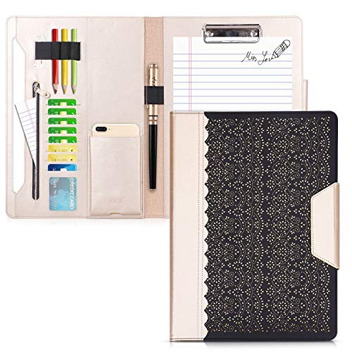 WWW Portfolio Case/Portfolio Folder, Interview/Legal Document Organizer with Business Card Holders, Letter-Sized Clipboard and Document Sleeve for Office and Interview Black