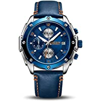 MEGIR Men's Analogue Military Chronograph Luminous Quartz Watch with Stylish Blue Leather Strap for Sport & Business Work ML2074G