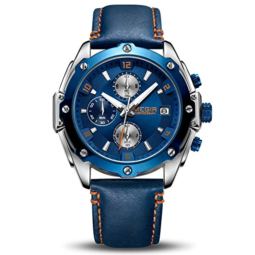 MEGIR Men's Analogue Army Military Chronograph Luminous Quartz Watch with Fashion Blue Leather Strap for Sport & Business Work ML2074GBE-2N11