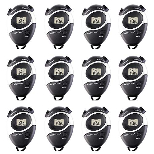 Pgzsy 12 Pack Black Multi-Function Electronic Digital Sport Stopwatch Timer, Large Display with Date Time and Alarm Function,Suitable for Sports Coaches Fitness Coaches and Referees ()