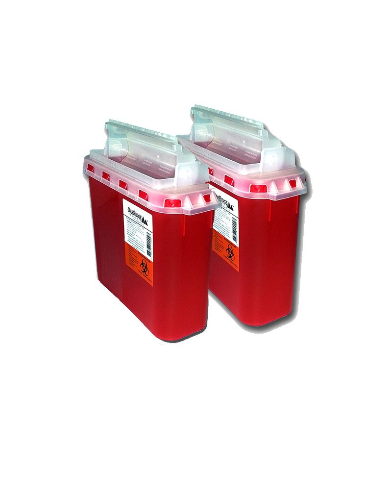 BD 5.4 Qt Sharps Disposal Container (2 Pack) by Oakridge Products. Touchfree Rotating Lid by OakRidge Products