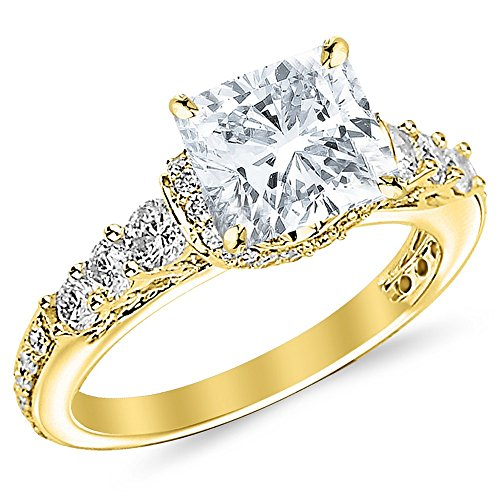 Gold Round Four Prong - 1.56 CTW GIA Certified 14K Yellow Gold Designer Four Prong Pave Set Round Diamonds Engagement Ring (0.71 Ct G Color SI2 Clarity Cushion Cut Center)