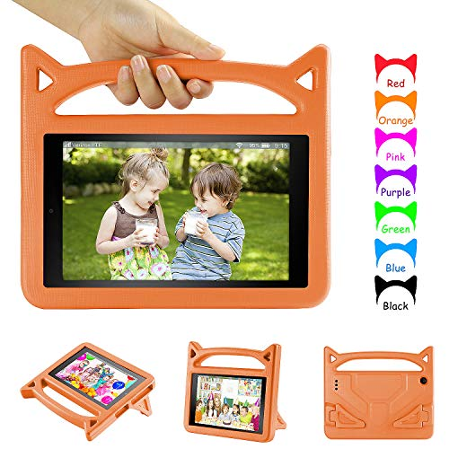 All New F i r e 7 2017 Case, F i r e 7 Kids Case - DiHines Kids Shock Proof Handle Friendly Stand Kid-Proof Case for All New A m a z o n F i r e 7 inch Display Tablet Cover(2015&2017 Release) (Orange)