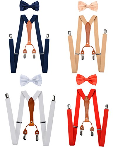 YanLen Pack of 4 Men's Suspenders & Bowtie Set Elastic X Band Stainless 4 Clips