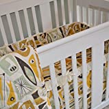 Mid-Century Modern Baby Bedding Set, Includes Fitted Crib Sheet and Crib Skirt