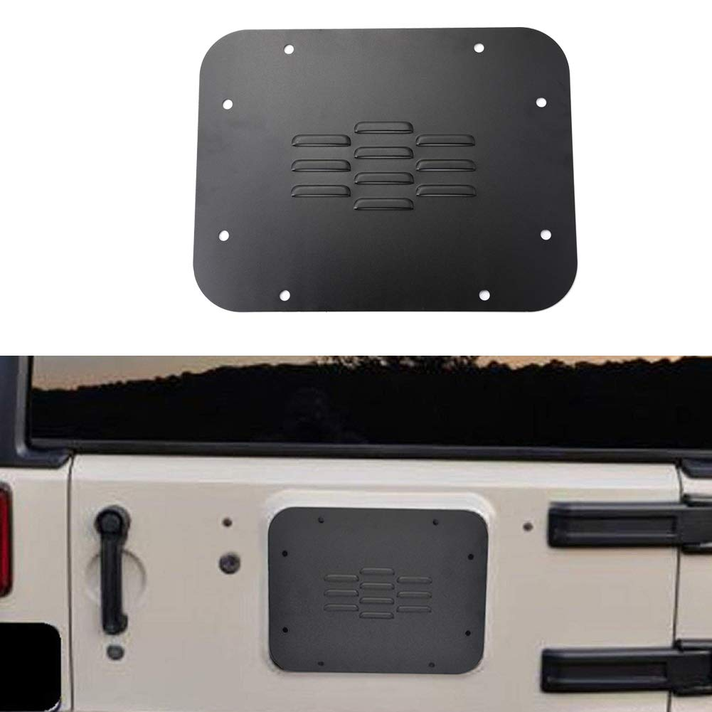 GZSJY Spare Tire Carrier Delete Filler Plate Tramp Stamp - Tailgate Vent-Plate Cover for 2007-2018 Jeep JK Wrangler & Unlimited (Laser Cut Slots)