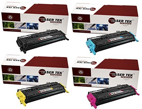 Laser Tek Services Compatible Toner Cartridge Replacement for HP 124A Q6000A Q6001A Q6002A Q6003A (Black, Cyan, Magenta, Yellow, 4-Pack) ()