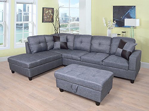 Beverly Fine Furniture F128A Left Facing Linen Russes Sectional Sofa Set with Ottoman, GREY
