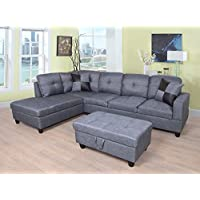 Eternity Home Panama 3 Seated Left Facing L Shaped Sectional Sofa with Ottoman, Dark Grey