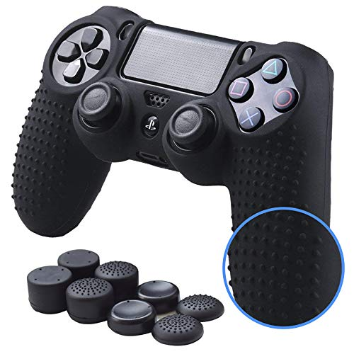PS4 Controller Skin Thumb Grips Set 8 pcs Anti-Slip Silicone Thumb Sticks Extender Protective Case for PS4 & Slim Pro Controller Skin Case (PS4 Dual shock Controller Skin x 1 + Thumb Grips x 8, Black)