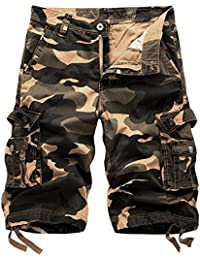a680647cba Mens Cotton Relaxed Fit Outdoor Camouflage Camo Cargo Shorts-Bapai-Orange  Camo-40
