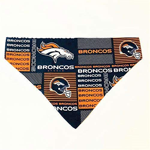 Denver Broncos Dog Bandana No-Tie Design