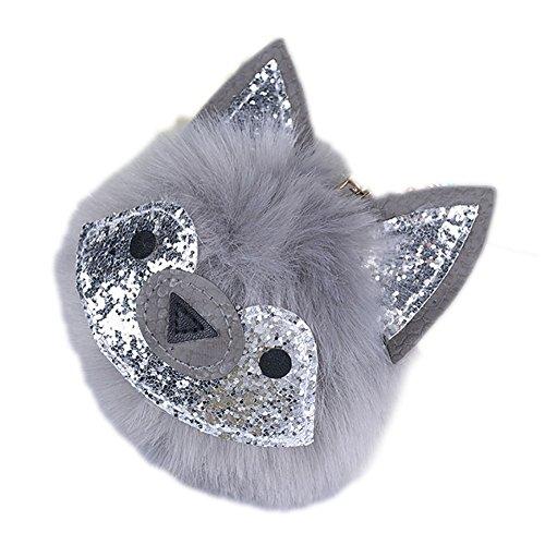 Glitter Ball Pendant - DJHbuy Glitter Fox Cat Ears Soft Fur Pompom Ball Pendant Car Purse Keyring Keychain
