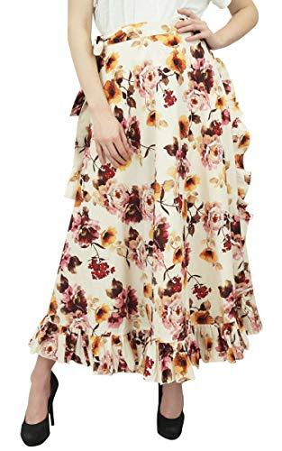 Femmes Jupe imprim Wrap Phagun Ceinture Ruffled Coton Magiques Auto Floral Crme IIAznwq0