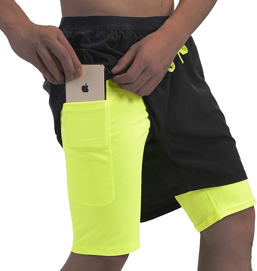 """qualidyne Men's 2 in 1 Running Shorts with Phone Pockets, Sports Workout Quick Dry 5"""" Athletic Training Shorts"""