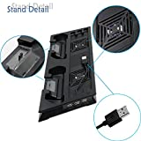 ADVcer PS4 Pro Vertical Stand with Dual Cooling Fan, Dual Controller Charging Station and 3 Extra USB Port for Playstation 4 Game Console, PS4 DualShock 4 Gamepad + 8 Controller Thumb Grip Cover Caps