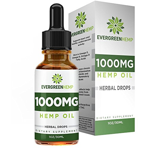 Hemp Oil Drops :: 1000MG per Bottle :: Premium Organic Extract :: Promotes Healthy Sleep :: Natural Anti-Anxiety :: One Month Supply (1FL oz) :: Evergreen Hemp