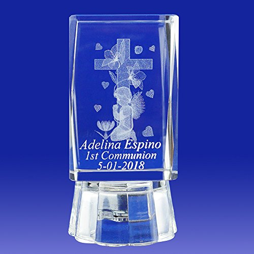 12 pcs Personalized Custom Laser Etched Engraving 3D Cross Praying Crystal Glass Cube for First Communion Comunión My 1st Communion (3