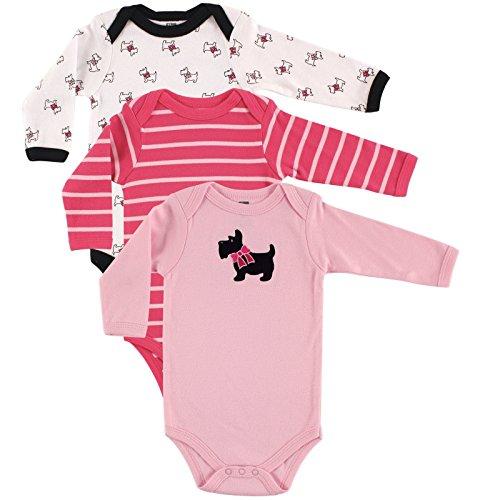 Hudson Baby Unisex Baby Long Sleeve Cotton Bodysuits, Scottie 3-Pack, 9-12 Months (12M)
