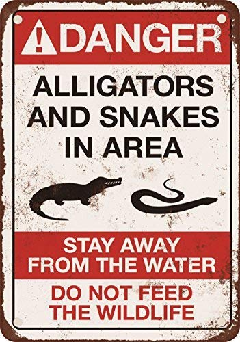 (Danger Alligators and Snakes Vintage Look Reproduction Aluminum Metal Sign for Garage Easy to Mount Indoor & Outdoor Use)