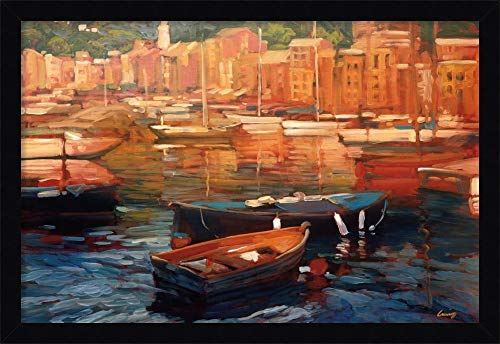 Framed Canvas Wall Art Print   Home Wall Decor Canvas Art   Anchored Boats - Portofino by Philip Craig   Modern Contemporary Decor   Stretched Canvas Prints