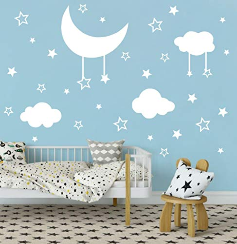 - Arttop White Star Wall Decal, Star Moon Clouds Sticker for Nursery Bedroom Decor, Removable Magical Stars Sticker Home Decor (112 pcs Decals)