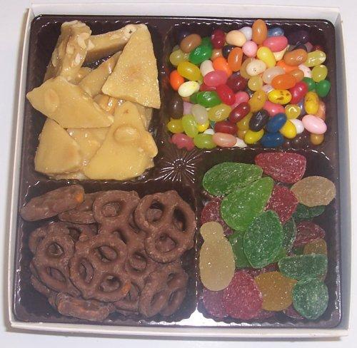 Scott's Cakes Large 4-Pack Assorted Jelly Beans, Pectin Fruit Gels, Peanut Brittle, & Dark Pretzels