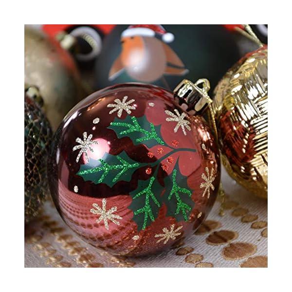 Valery Madelyn Palle di Natale 16 Pezzi 8 cm Palline di Natale, Strada di Campagna Rosso Verde e Oro Infrangibile Ornamenti Palla di Natale Decorazione per Albero di Natale Decor 6 spesavip
