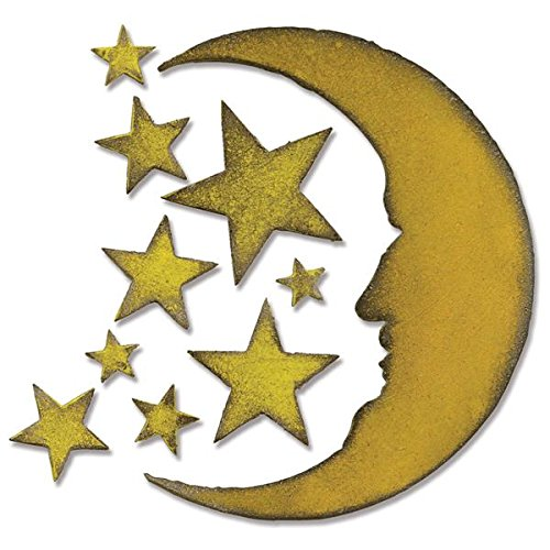 Sizzix 658716 Bigz Die by Tim Holtz, 5.5 by 6-Inch, Crescent Moon and Stars -