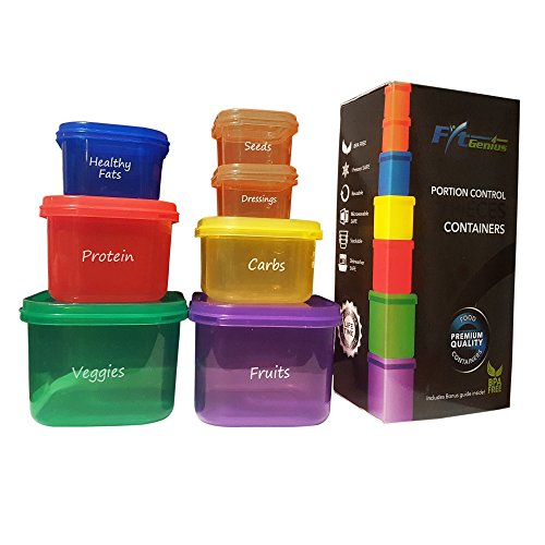 FitGenius Labeled Portion Control Containers (7-Piece Set) - Color-Coded, Meal Prep Containers - Perfect for Diet, Weight Loss & Weight Control programs. Comparable to 21 Day Fix containers. (P90x Portion Control)