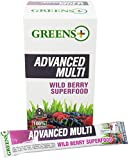 Advance Multi Wild Berry SuperFood Multivitamin Stick pack with Organic Wheat & Barley Grass - Purely Vegan | Dietary Supplement | Non - GMO, Soy Dairy & Gluten-free - Pack Box/15 Sticks by Greens+