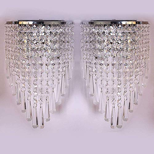 WEERUN A Pair Left & Right 2Pcs E12 Modern K9 Crystal Mirror Stainless Steel Wall Lights Wall Lamps Sconce Night Light Lamps Fixtures Lights With Switch For Hallway Bedside Living Room (Chrome)