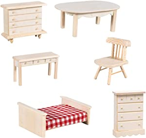 Miniature Wooden Dollhouse Furniture Bundle, Bed, Dresser, Chest of Drawers, Table, Chair, Desk