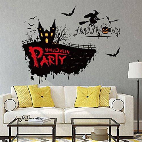 Halloween Wall Stickers,Ikevan PVC Festival Decor Halloween Witch Pumpkin Wall Sticker Party Home (Halloween Party Di Bandung)